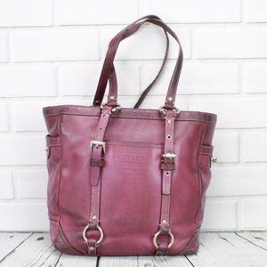Coach Purple Leather Large Satchel Handbag Purse